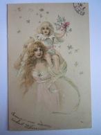 Illustration Femme Avec Enfant Art Nouveau Vrouw Met Kind Gelopen Circulée 1909 - Illustrateurs & Photographes