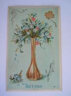 Illustration Art Nouveau Jugendstil Carte Gaufrée Vase Vaas Bloemen Fleurs Circulée 1907 - Illustrateurs & Photographes
