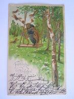 Illustration Art Nouveau Jugendstil Gaufrée Pfingsten Meikever Hanneton Maikäfer Balençoire 1903 Merkelsdorf Litho - Insectes