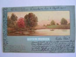 Gruss Aus Dresden 1900 -> Wien Guten Morgen Edit F. Eyfreidt Düsseldorf - Souvenir De...