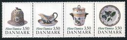 Denmark 916-919a Strip,MNH.Mi 977-980. Flora Dancica Porcelain 200th Ann.1990. - Denmark