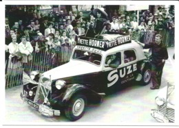 CARTE POSTALE AUTOMOBILE TRACTION CITROEN PUB SUZE YVETTE HORNER TOUR DE FRANCE 1954 - RARE - 10X15 CM NEUF - PKW