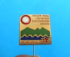 TRANSVERZALA - HIKING TRAIL - 1st SOLIN PARTISANS SQUAD - Yugoslavia Old Large Numbered Mountaineering Badge Partisan - Alpinism, Mountaineering