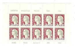 BLOC DE 10 TIMBRES MARIANNE DE DECARIS 0,25 PARIS PHILATEC 1964 EXPOSITION INTERNATIONALE - Sheetlets