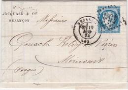 F 205 - De Besançon (Doubs) à Mirecourt - YT N°60 Losange GC - Poststempel (Briefe)