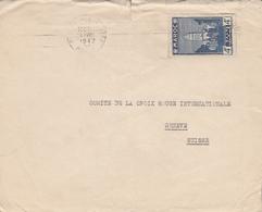 LSC 1943 - Enveloppe Pour Croix Rouge Genève - YT 194 - Cachet A.X. ( Censure ) Au Dos - Briefe U. Dokumente