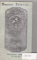 """Menu 29 Juin 1947 - Plaque Argentée """"Souvenir De Communion Solennelle"""" Déjeuner Et Diner - Menus"""