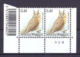 BELGIE * Buzin * Nr 3737  Barcode + Plaatnr 9 * Postfris Xx * FLUOR  PAPIER - 1985-.. Oiseaux (Buzin)