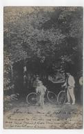 (RECTO / VERSO) FORET DE LA COUBRE EN 1908 - SOUS BOIS AVEC PERSONNAGES ET VELOS - SUPERBE CARTE PHOTO FORMAT CPA - Sonstige Gemeinden
