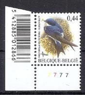 BELGIE * Buzin * Nr 3266  Barcode+pl7 * Postfris Xx * FLUOR  PAPIER - 1985-.. Oiseaux (Buzin)