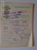 ZA108.12   Hungary MNB - Valuta Lap - Revenue Stamp 1966 -1200 KCS - Foreing Money Custom Declaration Szarvas - Chèques & Chèques De Voyage