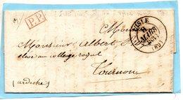 Port Payé,cachet 13 L'ISLE (sur Sorgue) (89)-L.A.C. Du 8/3/39. - 1801-1848: Precursors XIX