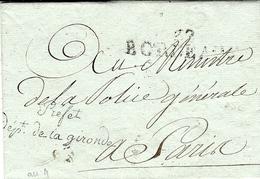 An 9 - Lettre En Franchise De 32 / BORDEAUX  - 50 X 12 Mm Noir + Préfet  / Dépt. De La Gironde  Pour Paris - 1801-1848: Voorlopers XIX