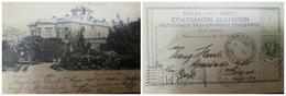 O) 1901, GIOVANNI DA BOLOGNA'S -HERMES  FIVE LEPTA SCOTT 168c 5l, HERMES SCOTT 66 5l, POSTAL CARD UPU- VILLA ROYALE MONF - Greece