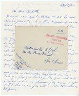 RHONE LAC 1940 AMBULANCE CHIRURGICALE LOURDE 418 (LYON) LETTRE DU DENTISTE LIEUTENANT AUF - Marcophilie (Lettres)