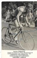 CYCLISME JACQUES ANQUETIL 1958 PHOTO Dédicacée Format Cpa 2 SCANS - Cycling