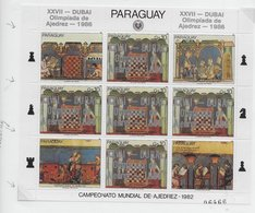 Paraguay 1986; Chess Ajedrez; Olympiad Plate Position See Scheme; So Not An Errror! - Paraguay