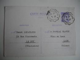 Le Puy En Velay A Saint Georges D Aurac  Cachet Ambulant Convoyeur  Poste Ferroviaire Sur Lettre - Poststempel (Briefe)