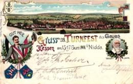 Nidda, 28. Turnfest, Farb-Litho, 1901 Von Schotten Nach Graudenz Versandt - Wetterau - Kreis