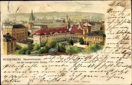 Lithographie Liberec Reichenberg Stadt, Gesamtansicht Von Der Evangelischen Kirche - Czech Republic