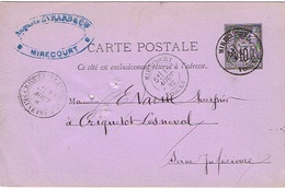 France Entier Postal Stationery Pret A Poster Carte Postale Cachet Mirecourt Vosges Criquetot Lesneval 1882 3 Trous Arch - Entiers Postaux