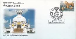 India  2013  Buddhism  Shanti Stupa , Dhauli  Bhubaneswar  Special  Cover #  12632  D Inde Indien - Buddhism