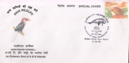 India  2008  Birds  Hornbill  Dugogng  Cancellation  Port Blair  Special  Cover #  15365  D Inde Indien - Coucous, Touracos