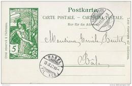 """93 - 50 - Entier Postal UPU Privé """"Suchard"""" - Cachets à Date Saignelégier Et Basel 1900 - Entiers Postaux"""