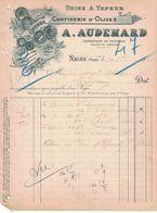 1923 GRANDE CONFISERIE D'OLIVES A. AUDEMARD PROPRIETAIRE DE VIGNOBLES VALLEE DE LANGLADE NAGES GARD - Frankreich