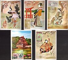 """"""" EXPOSITION UNIVERSELLE D'OSAKA """" Sur 5 Cartes Maximum De 1970 De MONACO. N° YT 822 à 826. Parfait état. CM - 1970 – Osaka (Japon)"""