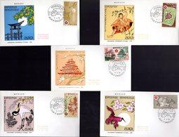 """"""" EXPOSITION UNIVERSELLE D'OSAKA """" Sur 5 Enveloppes 1er Jour De 1970 De MONACO. N° YT 822 à 826. Parfait état. FDC - 1970 – Osaka (Japan)"""