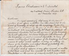 Londres, James Anderson, Circular, Liquidation Of The Company 1877 (3 Scans) - United Kingdom