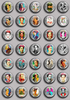Frida Kahlo Painting Fan ART BADGE BUTTON PIN SET 2 (1inch/25mm Diameter) 35 DIFF - Pin