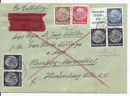 Dt.- Reich (003181) Expressbrief Zusammendruck MNR S167, S171, W82, 516, 513, 512, 519, Gelaufen Gallin Am 20.3.1940 - Zusammendrucke