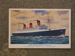 CUNARD LINE QUEEN MARY - NICHOLSON ART CARD - Steamers