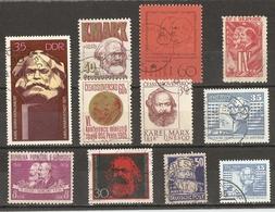 Karl Marx - Petit Lot De 11 Timbres Oblitérés - Karl Marx