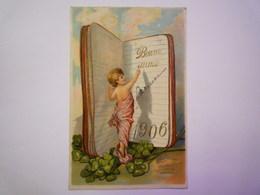 """Jolie Fantaisie Gaufrée  """" BONNE ANNEE  1906 """"   - New Year"""