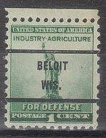 USA Precancel Vorausentwertung Preo, Bureau Wisconsin, Beloit 899-71 - Vereinigte Staaten