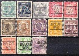 USA Precancel Vorausentwertung Preo, Locals Wisconsin, Beloit 547, 13 Diff. Perf. 6 X 11x11, 7 X 11x10 1/2 - Vorausentwertungen