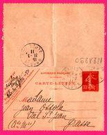 Carte Lettre 10 C Semeuse - Entier Postal - Oblit. Grasse (06) Et Paris 96 Rue Gluck - Pour Ossola - 1911 - Biglietto Postale