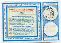 JERSEY COUPON REPONSE INTERNATIONAL DE 10 P.. AVEC OBLITERATION JERSEY  - CHANNEL ISLANDS 1 JY 71 - Jersey