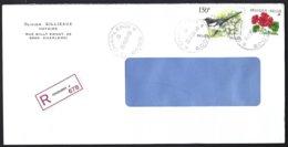 Cob Buzin 2697 Pie Bavarde +2854 Fleur Geranium Sur Lettre Recommandé Charleroi - Bélgica