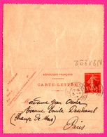 Carte Lettre 10 C Semeuse - Entier Postal - Oblit. Grasse (06) - Pour Mme Ossola - 1915 - Entiers Postaux