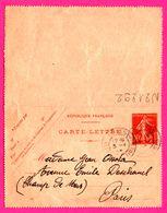 Carte Lettre 10 C Semeuse - Entier Postal - Oblit. Grasse (06) - Pour Mme Ossola - 1915 - Biglietto Postale