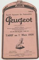 """Tarif """"Peugeot"""" 1928 10 Pages (2 Scans) - Automobile"""
