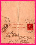 Carte Lettre 10 C Semeuse - Entier Postal - Oblit. GRASSE (06) / Paris R. Gluck - Pour Mme Ossola - 1911 - Entiers Postaux