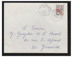 FRANCE -- CORRESPONDANTS POSTAUX -- CERENCES (MANCHE) C.P. N°1-- T à D HEXAGONAL POINTILLE 25/07/1967-- - Marcophilie (Lettres)