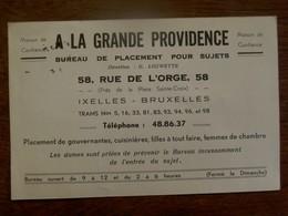 Kaart A  LA  GRANDE  PROVIDENCE    Bureau De Placement Pour Sujets 1937 - Organisations