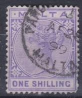 MALTE 1885: Le 1 Sh  Violet (Y&T 10), Oblitéré - Malta