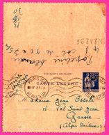 Carte Lettre 65 C Type Paix Bleu - Entier Postal - Obl. PARIS 102 Bd Pasteur Vs Grasse ( 06 ) - Pour Mme OSSOLA - 1916 - Entiers Postaux